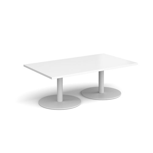 Monza rectangular coffee table with flat round white bases 1400mm x 800mm - white