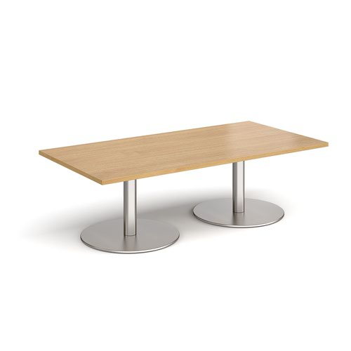 Monza rectangular coffee table with flat round brushed steel bases 1600mm x 800mm - oak