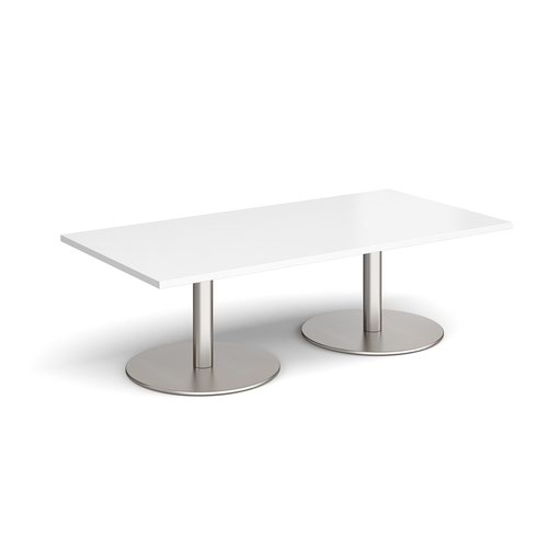 Monza rectangular coffee table with flat round brushed steel bases 1600mm x 800mm - white