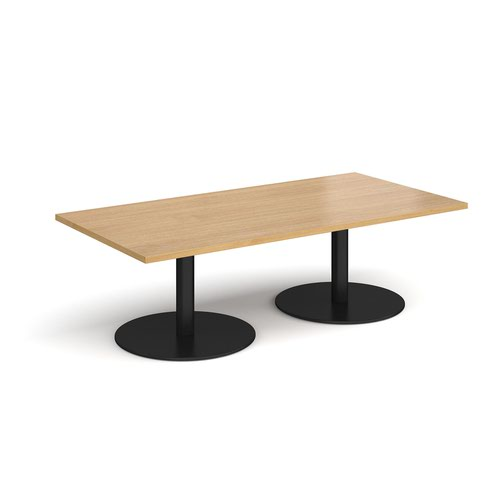 Monza rectangular coffee table with flat round black bases 1600mm x 800mm - oak