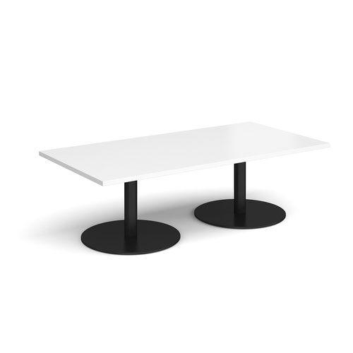 Monza rectangular coffee table with flat round black bases 1600mm x 800mm - white