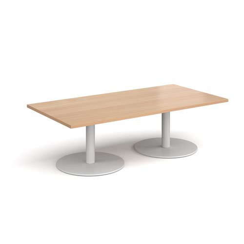 Monza rectangular coffee table with flat round white bases 1600mm x 800mm - beech