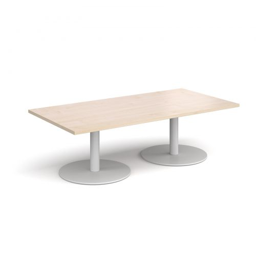 Miraculous Monza Rectangular Coffee Table With Flat Round White Bases 1600Mm X 800Mm Maple Uwap Interior Chair Design Uwaporg