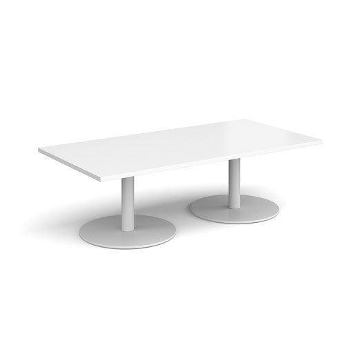 Monza rectangular coffee table with flat round white bases 1600mm x 800mm - white
