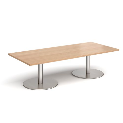 Monza rectangular coffee table with flat round brushed steel bases 1800mm x 800mm - beech