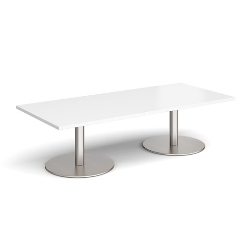Monza rectangular coffee table with flat round brushed steel bases 1800mm x 800mm - white