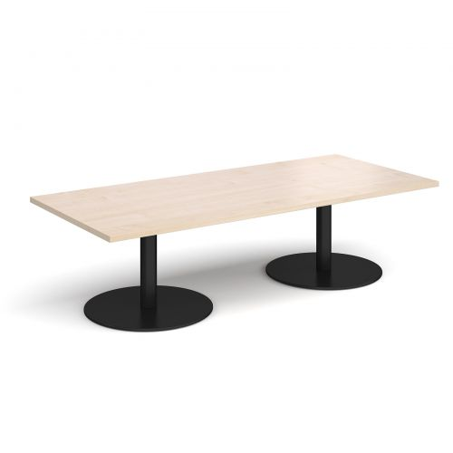 Monza rectangular coffee table with flat round black bases 1800mm x 800mm - maple