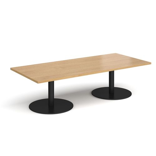 Monza rectangular coffee table with flat round black bases 1800mm x 800mm - oak