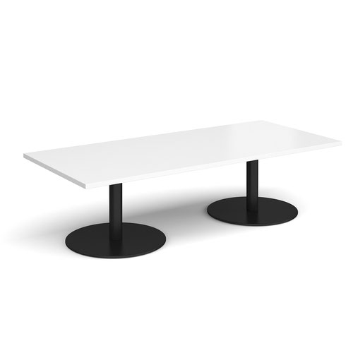 Monza rectangular coffee table with flat round black bases 1800mm x 800mm - white