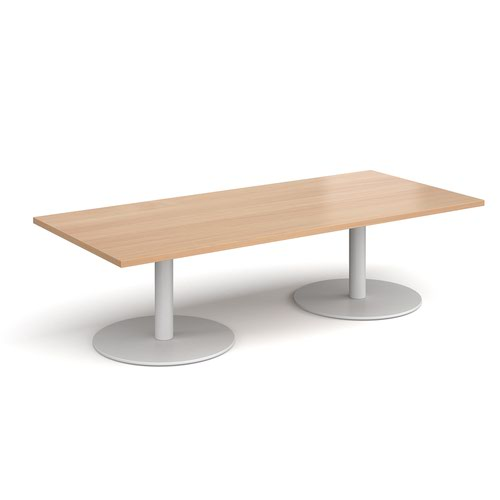 Monza rectangular coffee table with flat round white bases 1800mm x 800mm - beech