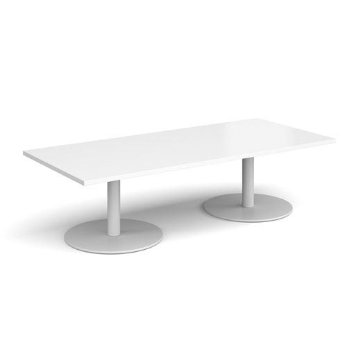 Monza rectangular coffee table with flat round white bases 1800mm x 800mm - white