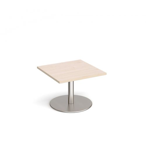 Monza square coffee table with flat round brushed steel base 700mm - maple