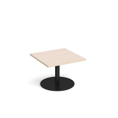 Monza square coffee table with flat round black base 700mm - maple