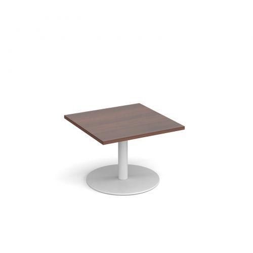 Monza square coffee table with flat round white base 700mm - walnut