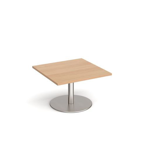 Monza square coffee table with flat round brushed steel base 800mm - beech