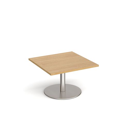 Monza square coffee table with flat round brushed steel base 800mm - oak