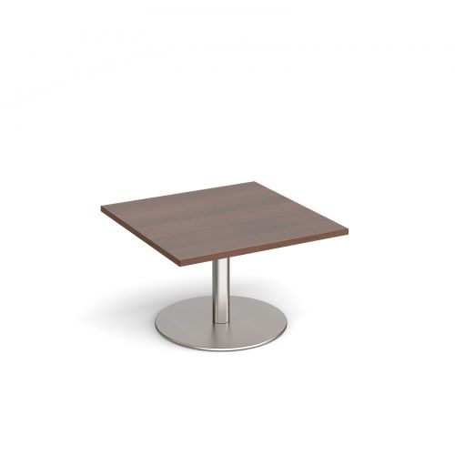 Monza square coffee table with flat round brushed steel base 800mm - walnut