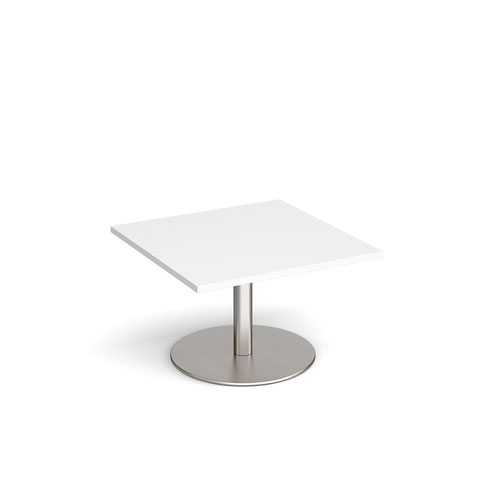 Monza square coffee table with flat round brushed steel base 800mm - white