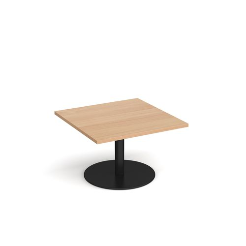 Monza square coffee table with flat round black base 800mm - beech