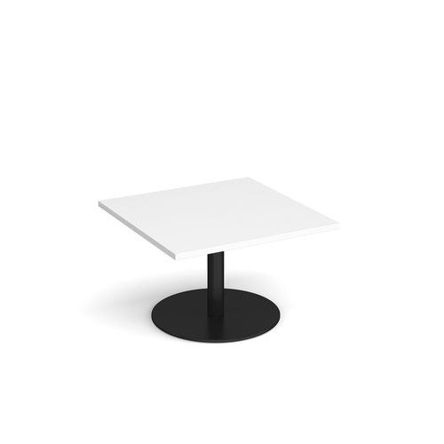 Monza square coffee table with flat round black base 800mm - white