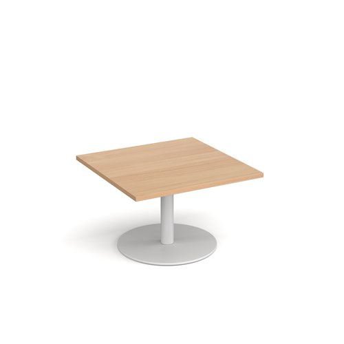 Monza square coffee table with flat round white base 800mm - beech