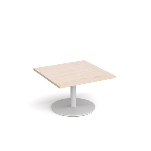 Monza square coffee table with flat round white base 800mm - maple