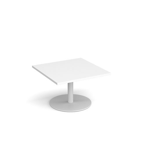 Monza square coffee table with flat round white base 800mm - white