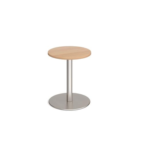 Monza circular dining table with flat round brushed steel base 600mm - beech