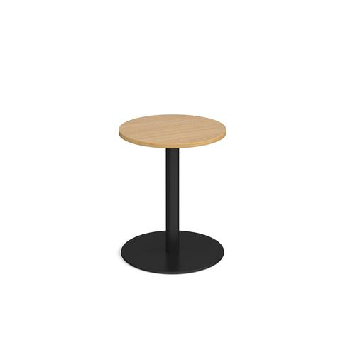 Monza circular dining table with flat round black base 600mm - oak