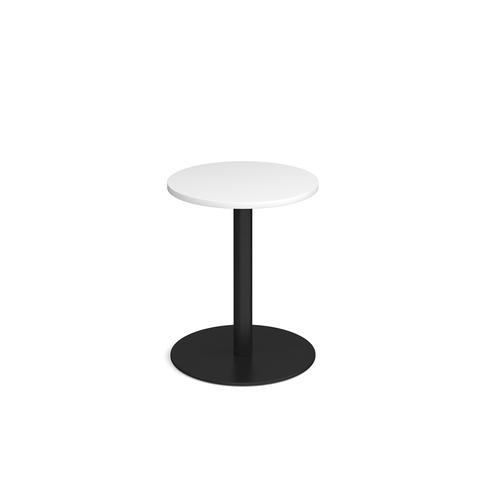Monza circular dining table with flat round black base 600mm - white