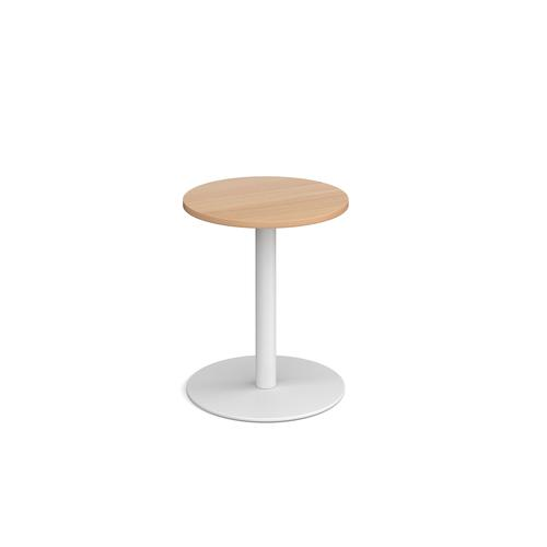 Monza circular dining table with flat round white base 600mm - beech