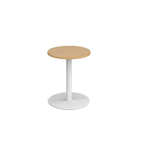 Monza circular dining table with flat round white base 600mm - oak