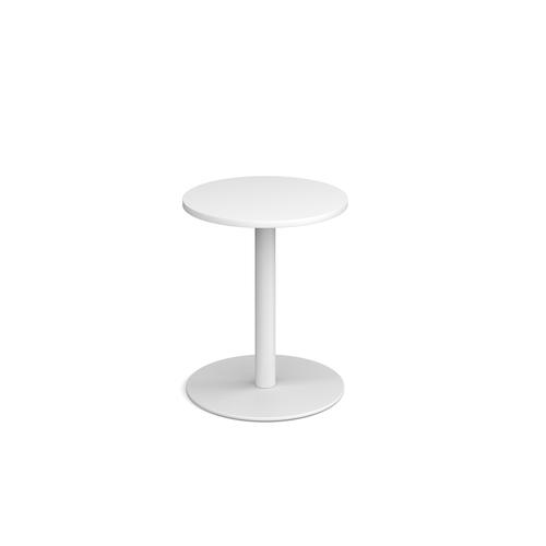 Monza circular dining table with flat round white base 600mm - white