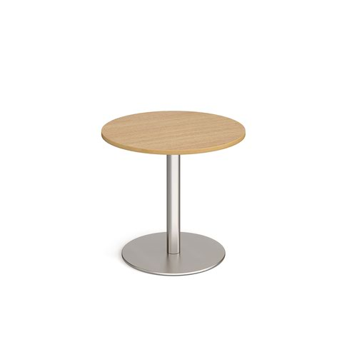 Monza circular dining table with flat round brushed steel base 800mm - oak
