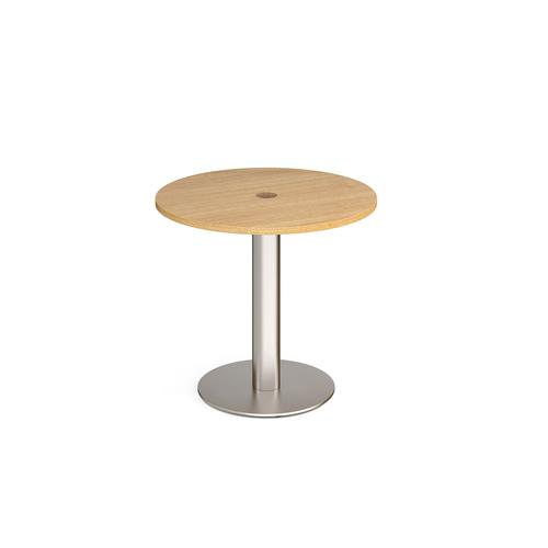 Monza circular dining table 800mm with central circular cutout 80mm - oak