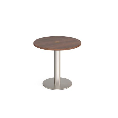 Monza circular dining table 800mm with central circular cutout 80mm - walnut