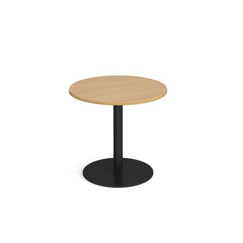 Monza circular dining table with flat round black base 800mm - oak