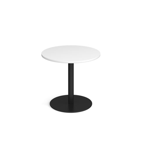 Monza circular dining table with flat round black base 800mm - white