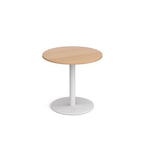 Monza circular dining table with flat round white base 800mm - beech