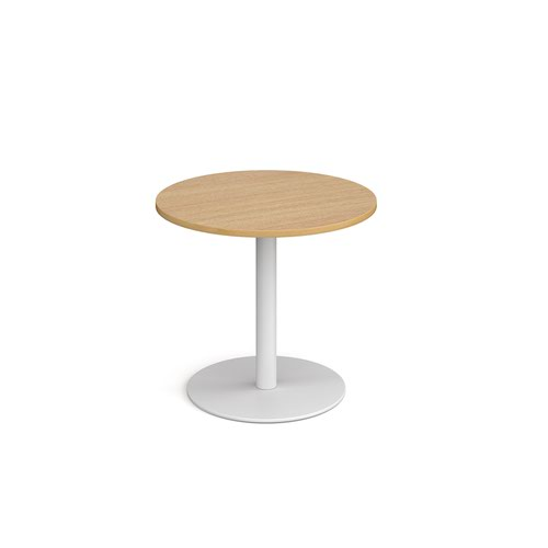 Monza circular dining table with flat round white base 800mm - oak