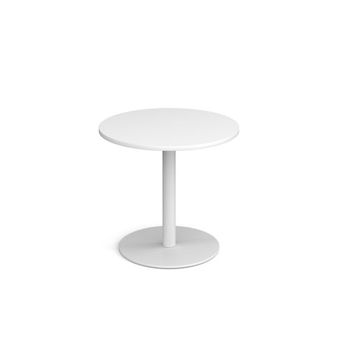 Monza circular dining table with flat round white base 800mm - white