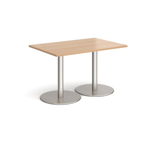 Monza rectangular dining table with flat round brushed steel bases 1200mm x 800mm - beech