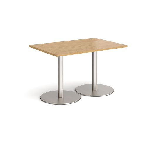 Monza rectangular dining table with flat round brushed steel bases 1200mm x 800mm - oak