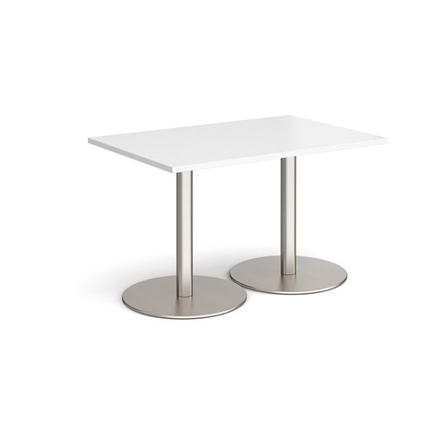 Monza rectangular dining table with flat round brushed steel bases 1200mm x 800mm - white