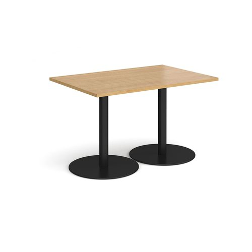 Monza rectangular dining table with flat round black bases 1200mm x 800mm - oak
