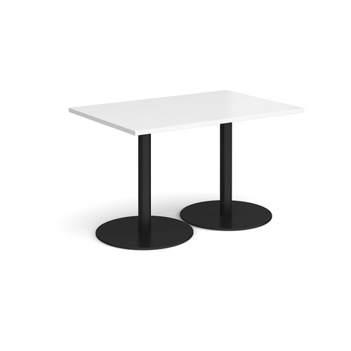 Monza rectangular dining table with flat round black bases 1200mm x 800mm - white