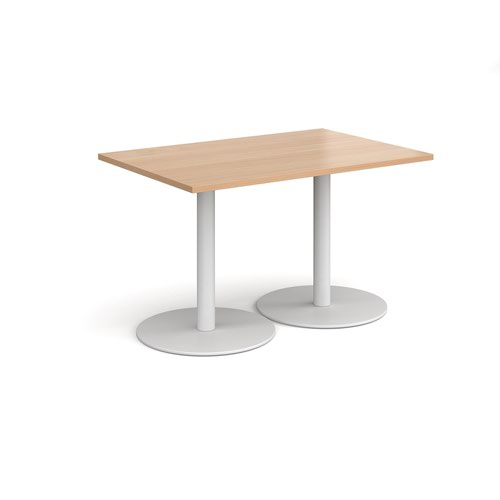 Monza rectangular dining table with flat round white bases 1200mm x 800mm - beech