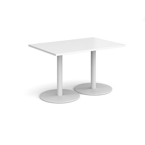 Monza rectangular dining table with flat round white bases 1200mm x 800mm - white