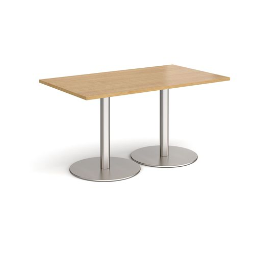 Monza rectangular dining table with flat round brushed steel bases 1400mm x 800mm - oak