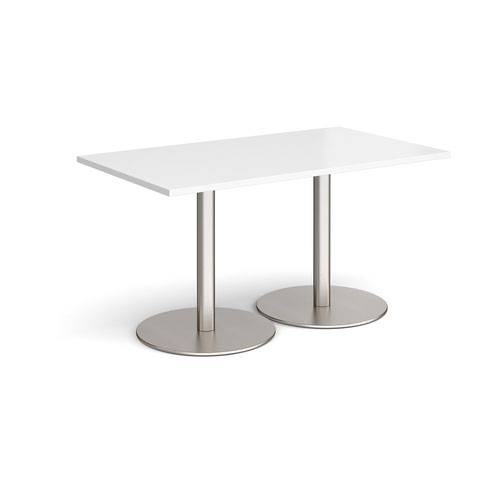 Monza rectangular dining table with flat round brushed steel bases 1400mm x 800mm - white
